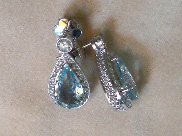 Paltinum Earring with Diamonds and Aquamarines