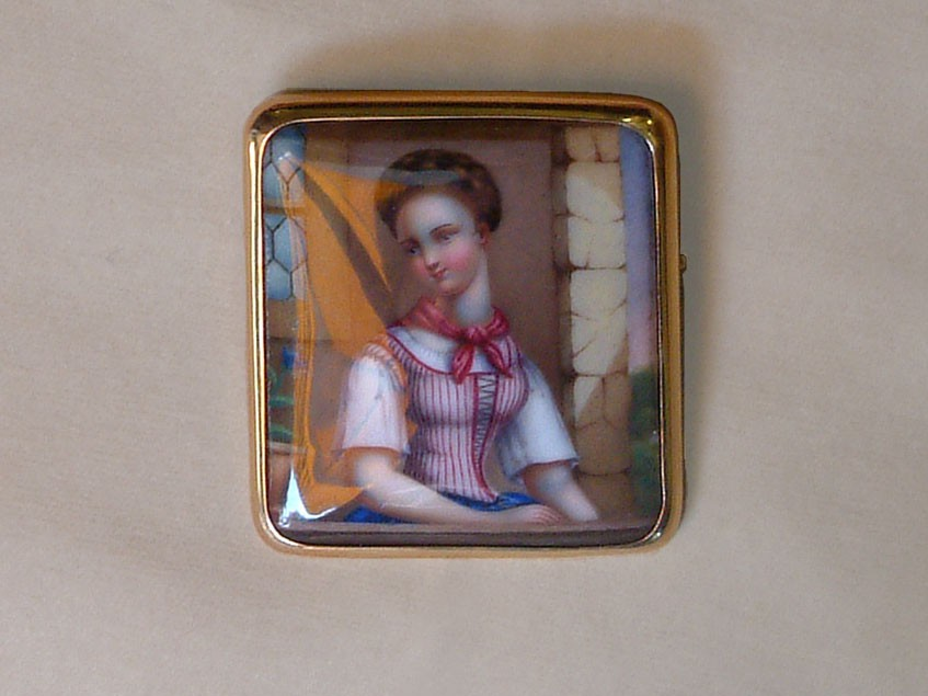 Antique Swiss Enamel Brooch with Portrait of Young Girl