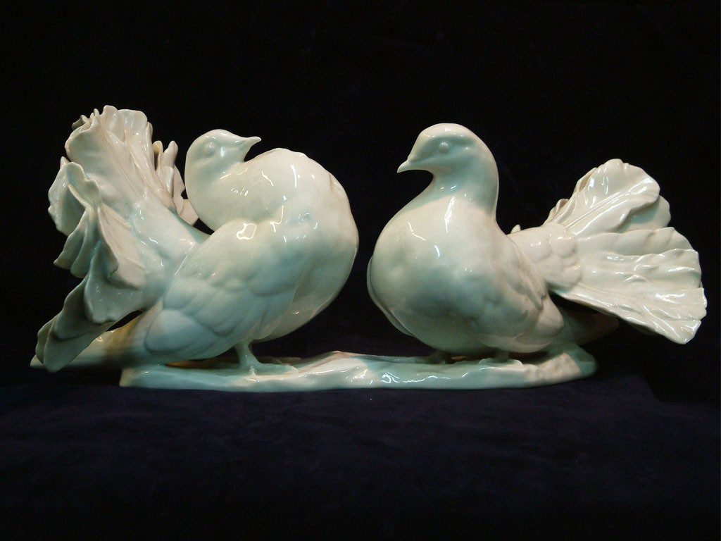 Rosenthal 40s Porcelain Sculpture of a Couple of Pigeons