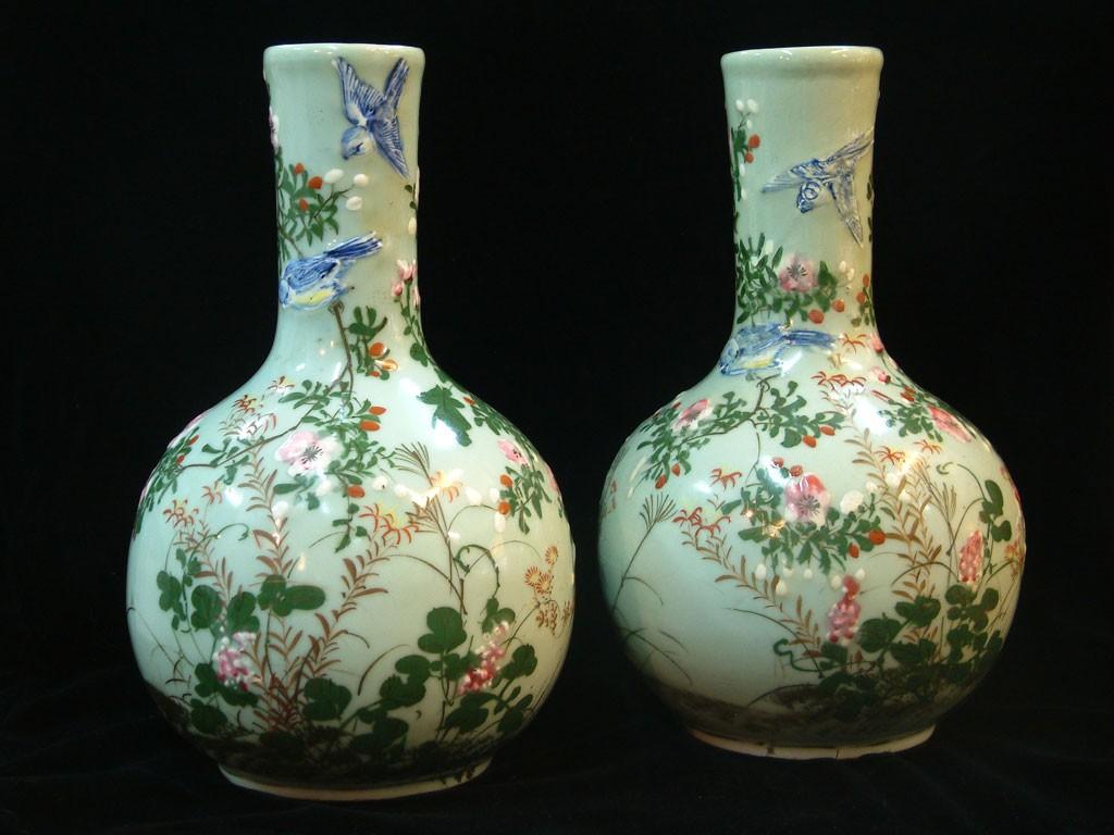 """Antique Japanese Pair of Vases - """"Matsumura"""""""