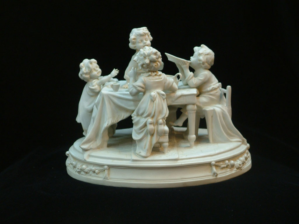 Bisque Sculpture - Children at Dining Table (Scheibe-Alsbach)