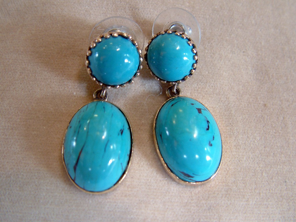 Fourties Gold Earrings with Long Turquoises