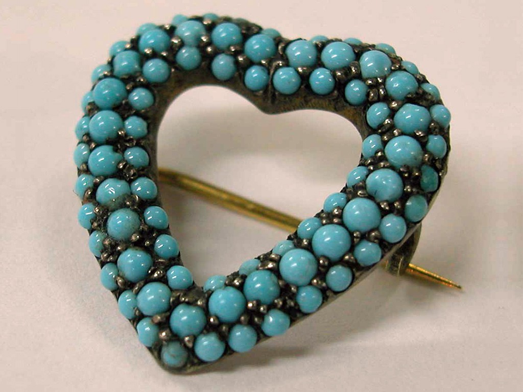 Heart Shaped Silver Pin with Turquoises