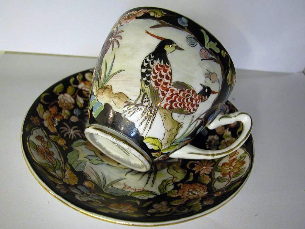 Cup and Plate with Unique Painting - Gladstone, England