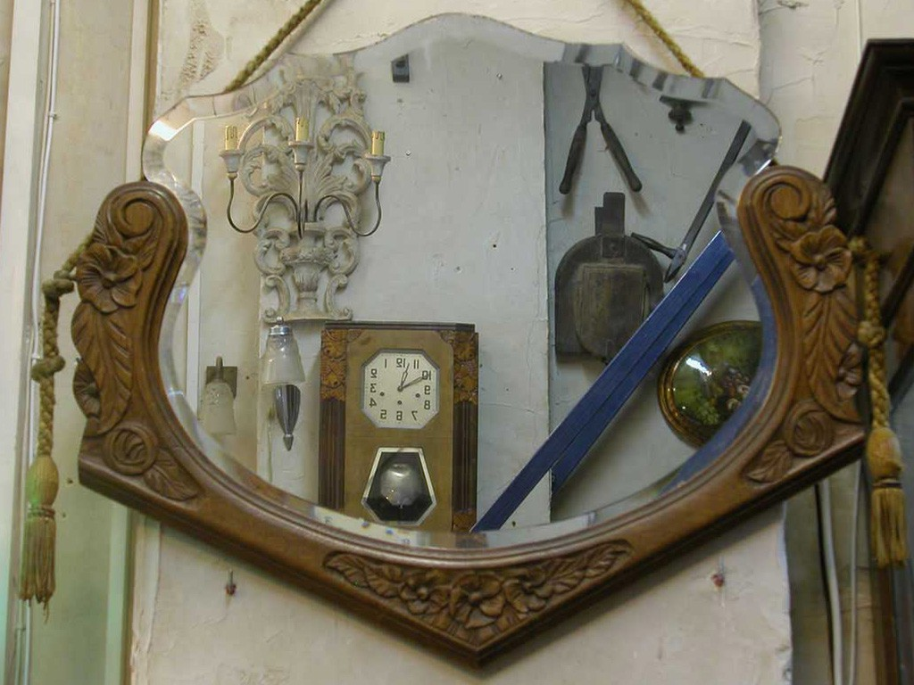 Wooden Framed Art Nouveau Mirror