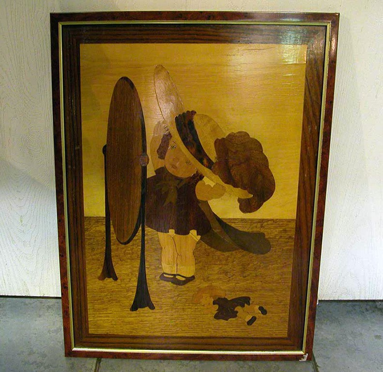 Wooden Picture of Girl looking at Mirror