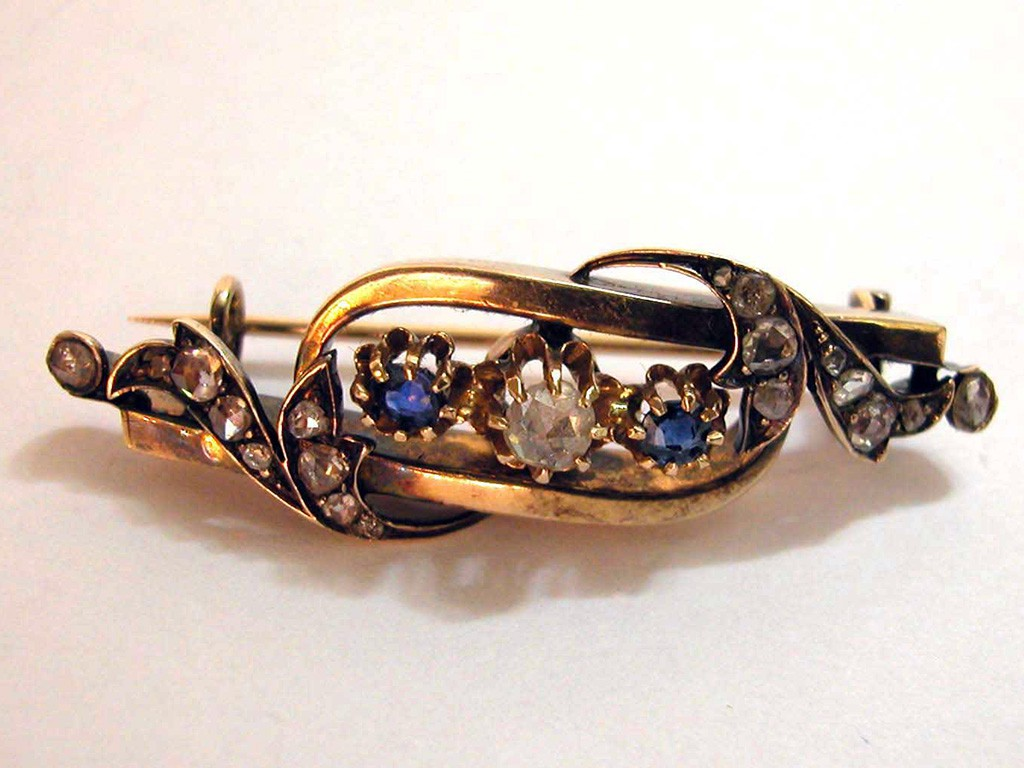 Victorian Sapphires and Rose Cut Diamonds Pin