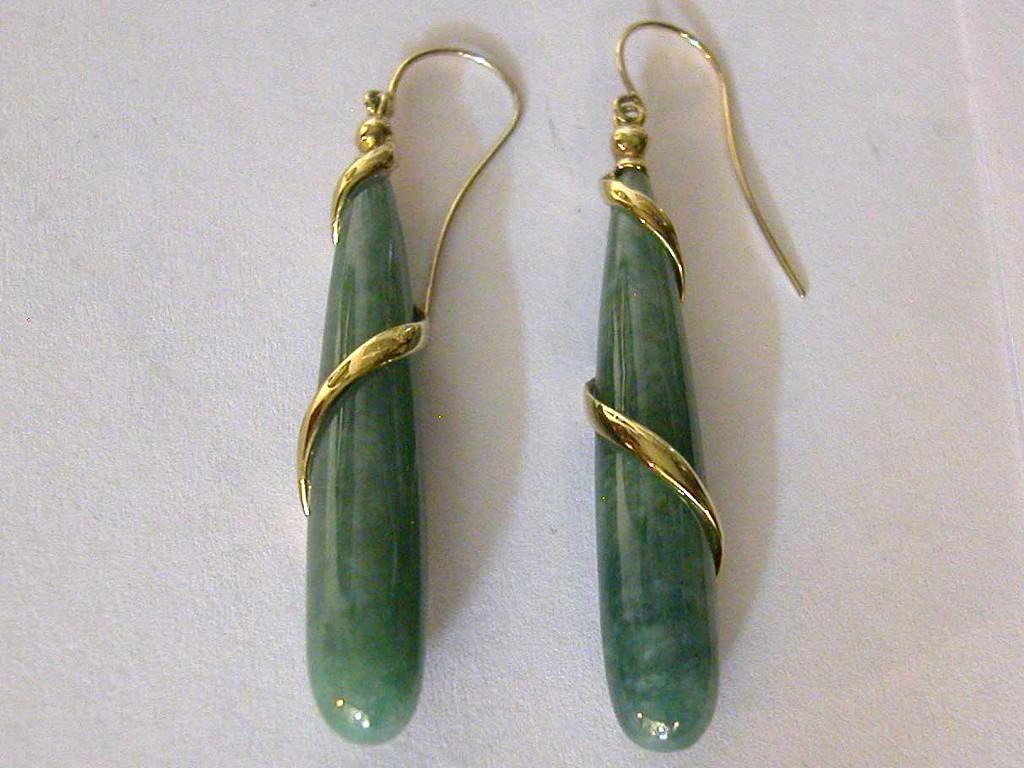 Cone shaped Jade Earrings