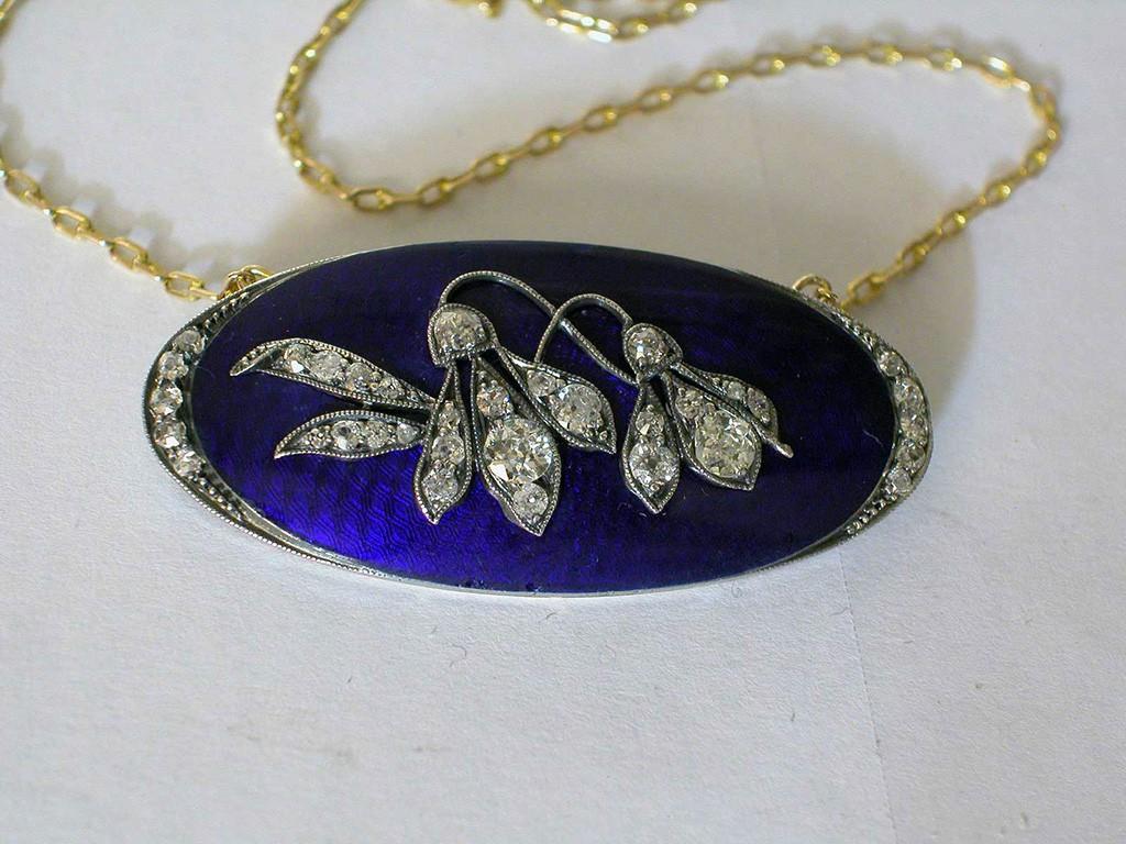 Enameled Art Nouveau Pendant with Diamonds