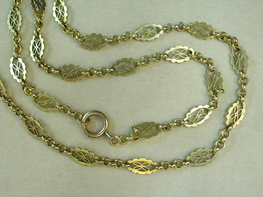 French Long Gold Necklace