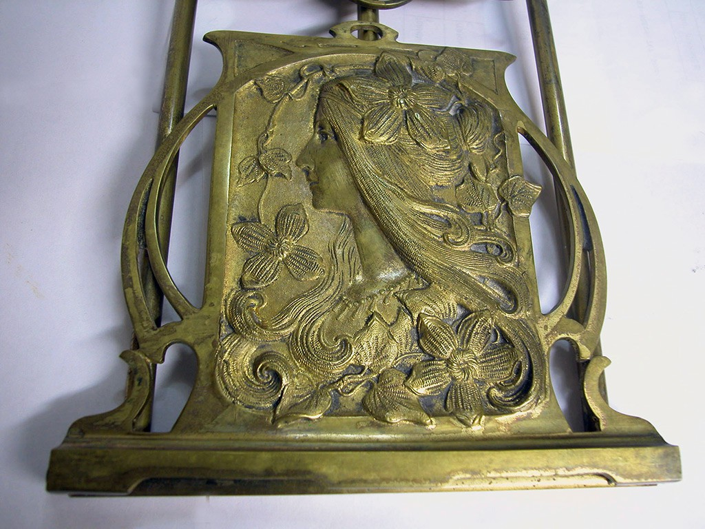 Art Nouveau Yellow Bronze Bookends