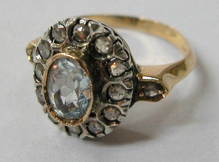 Antique Aquamarine Ring with Diamonds