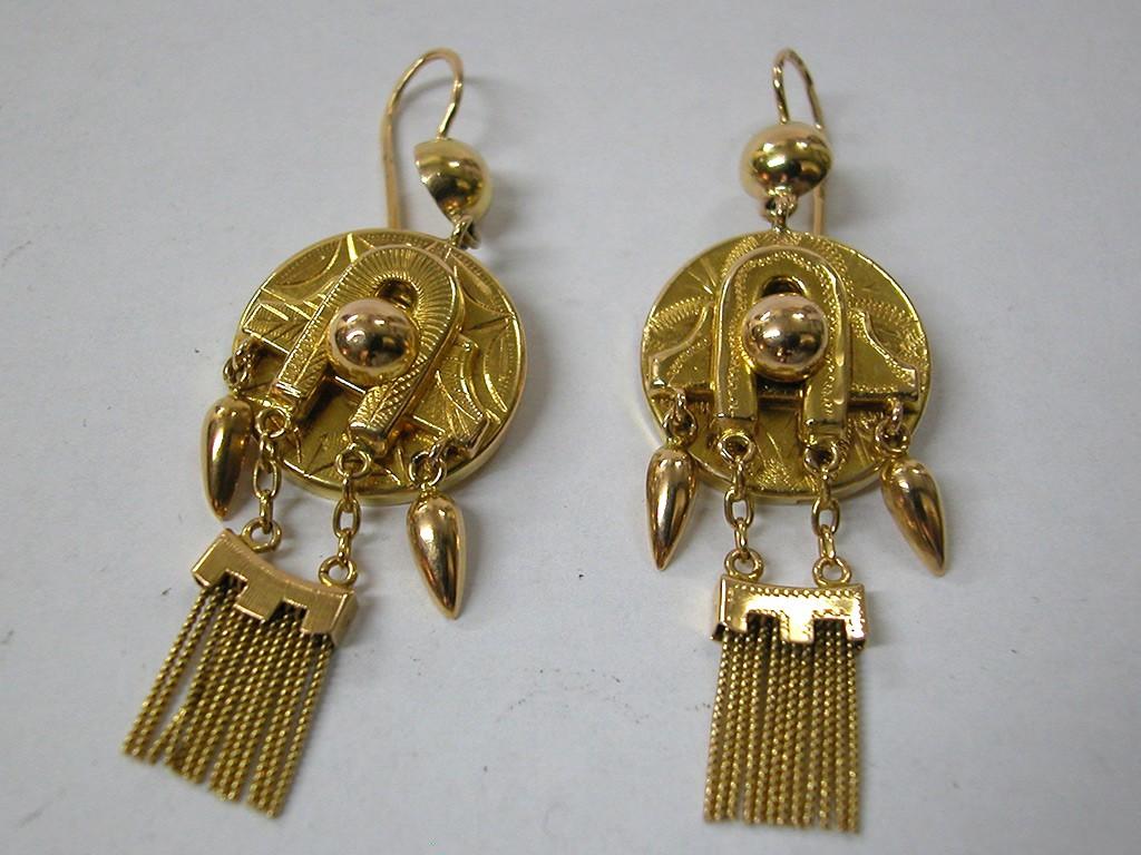 עגילי זהב רוסיים ארוכים עם גדילים