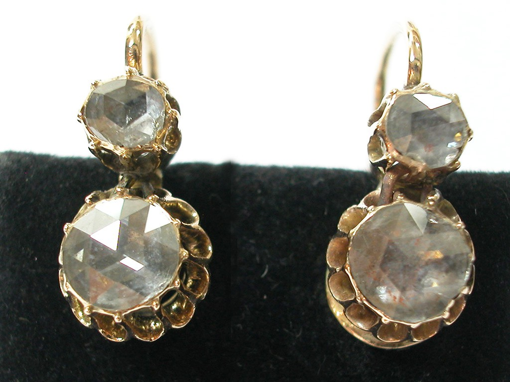 Rose Cut Diamond Unique Earrings