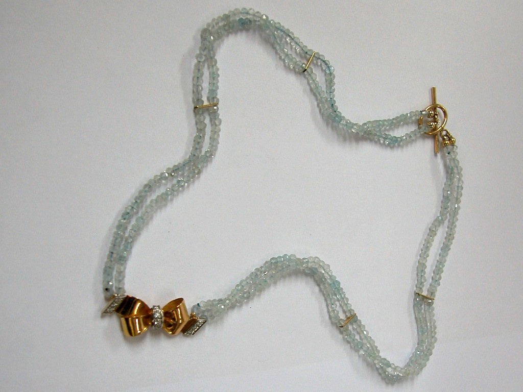 Aquamarine Necklace with Gold Bow