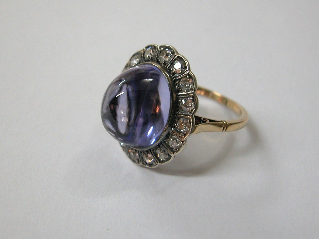 Ametyst and Rose Cut Diamonds Ring
