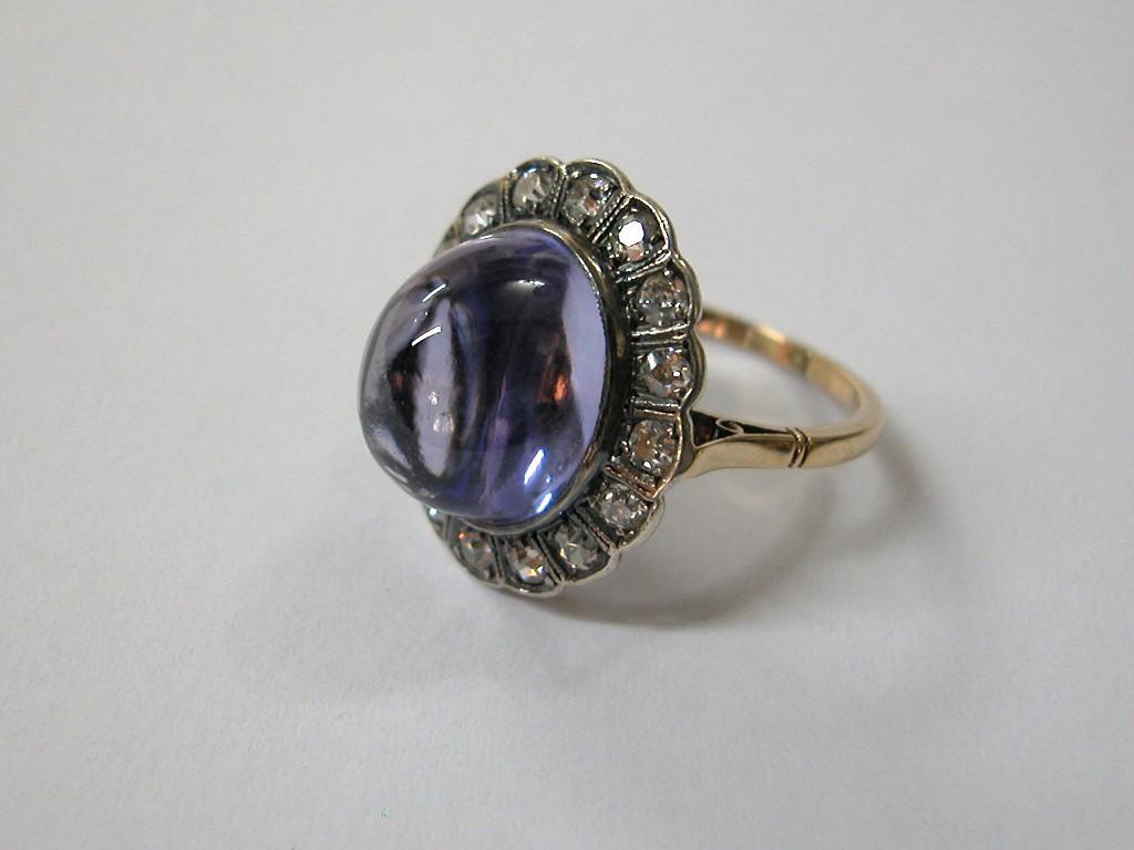 טבעת אמטיסט ודיאמנטים גדולה וקסומה