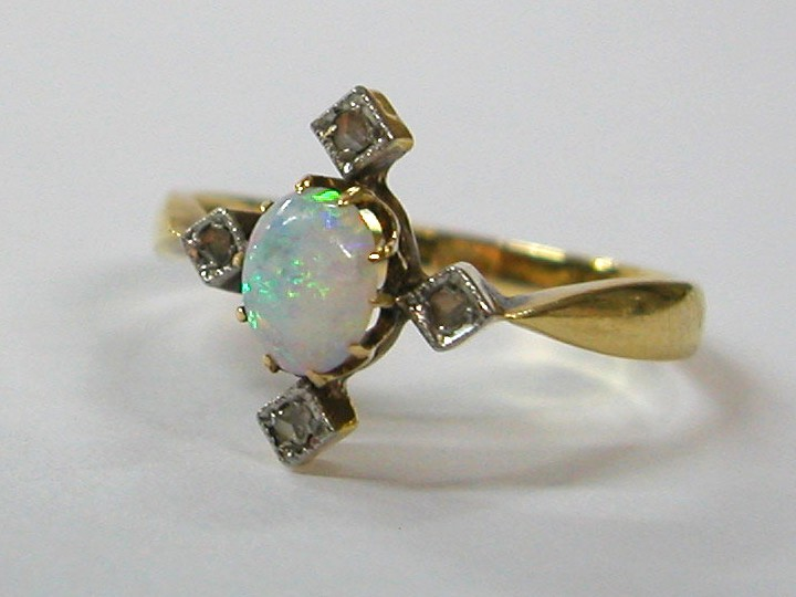 Art Deco Ring with Opal and Diamonds