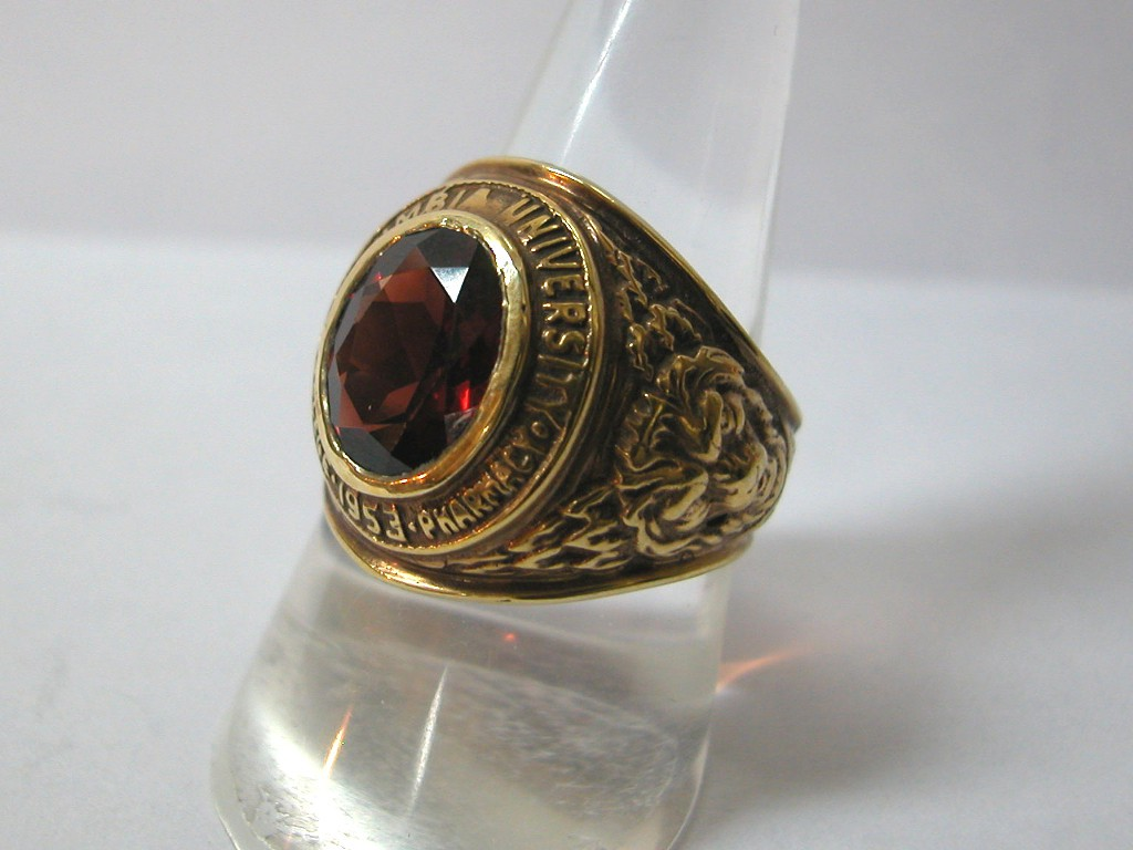 College Ring with Garnet