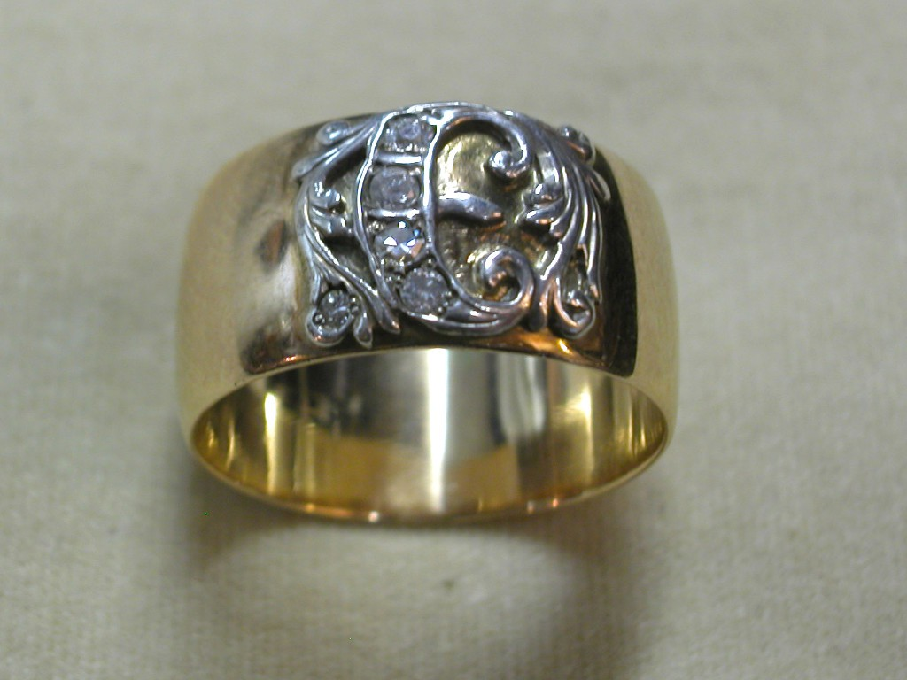 Russian Monogram Ring with Diamonds