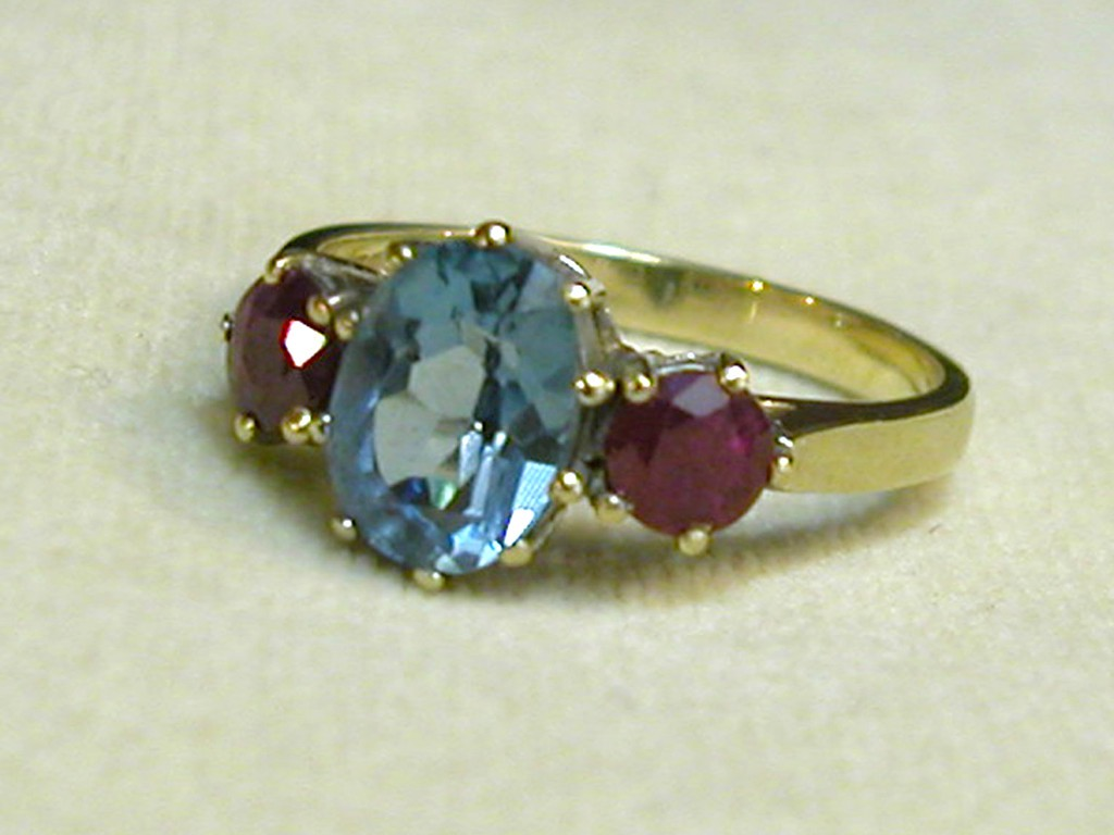 Antique Ring with Rubies and Blue Topaz