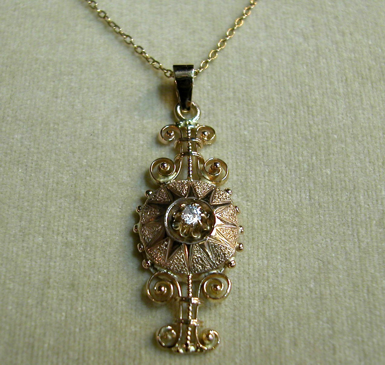 Victorian Gold Pendant with Diamond
