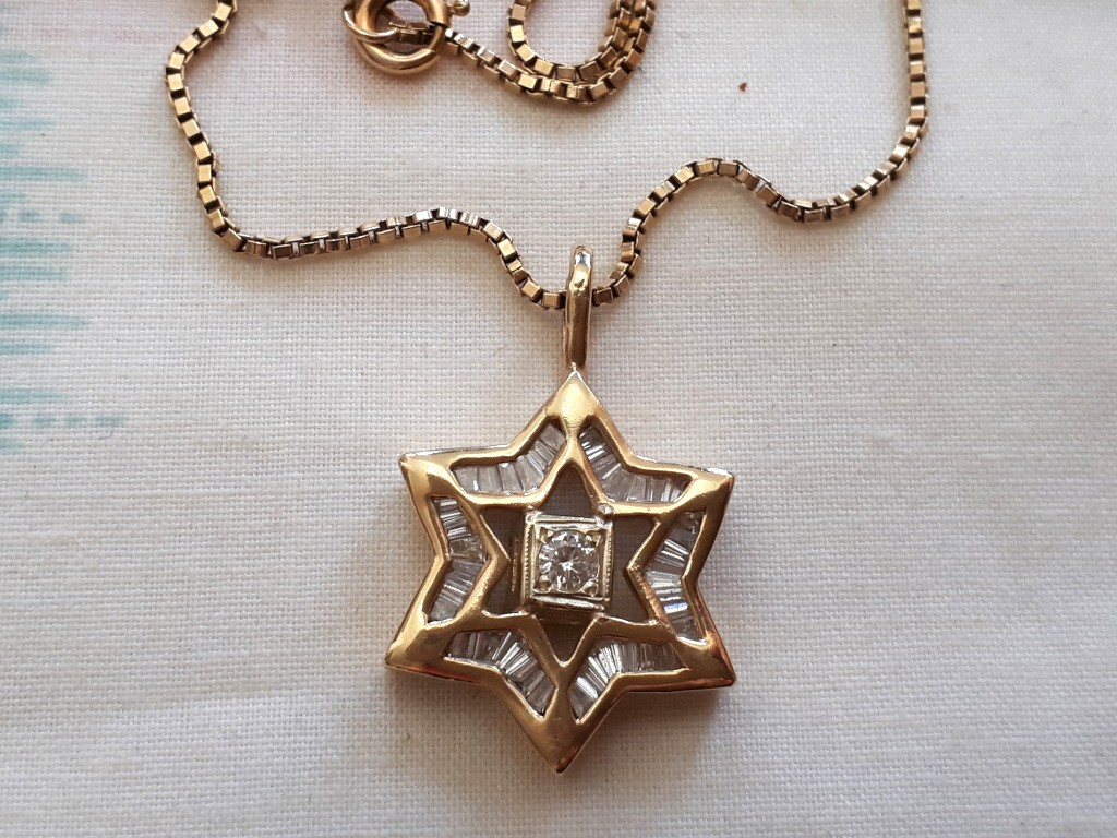 Gold Star of David Pendant with Baguette Diamonds