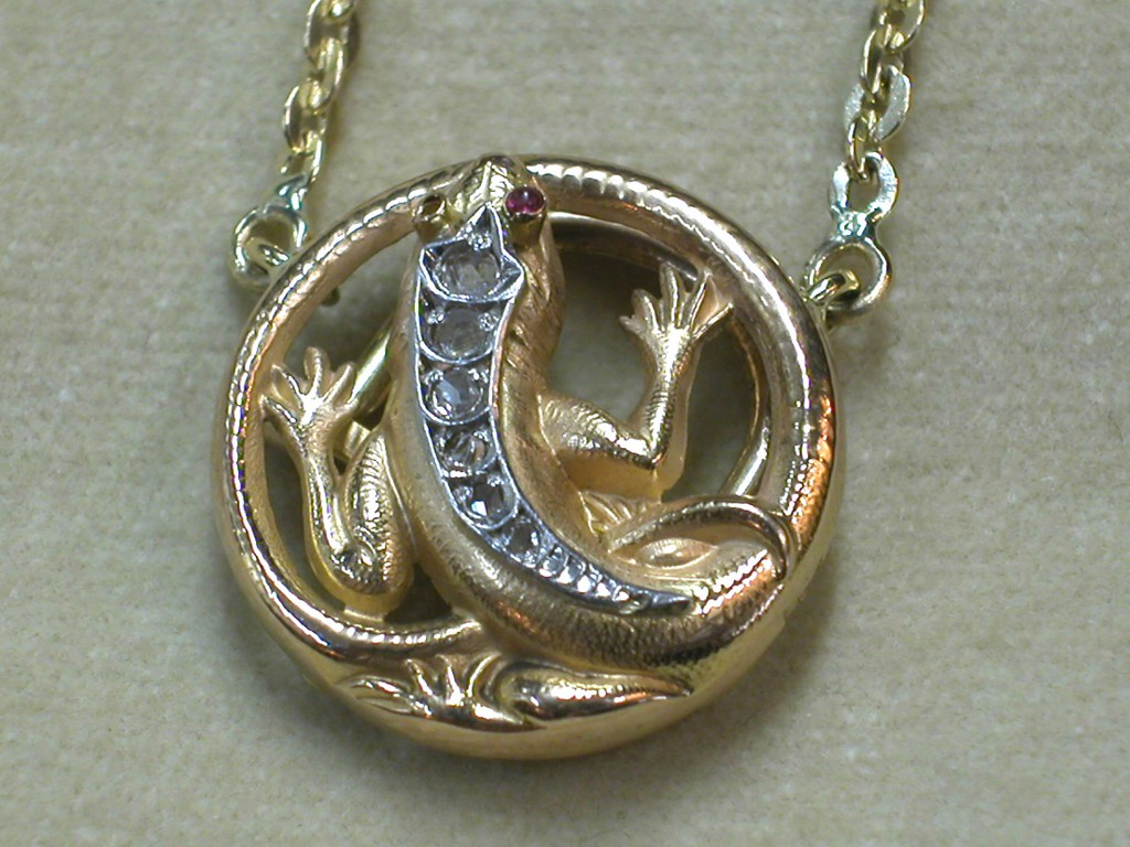 French Pendant with Lizard
