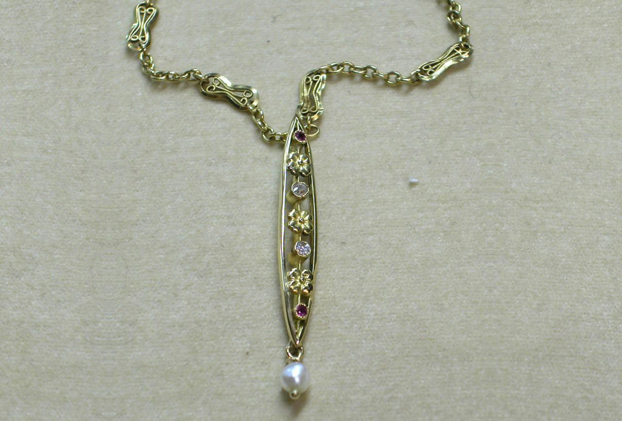 Russian Necklace with Diamonds and Rubies
