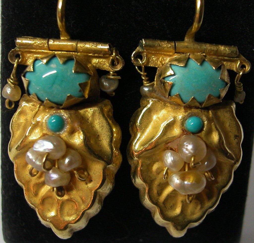Antique Bukharian Earrings with Turquoises