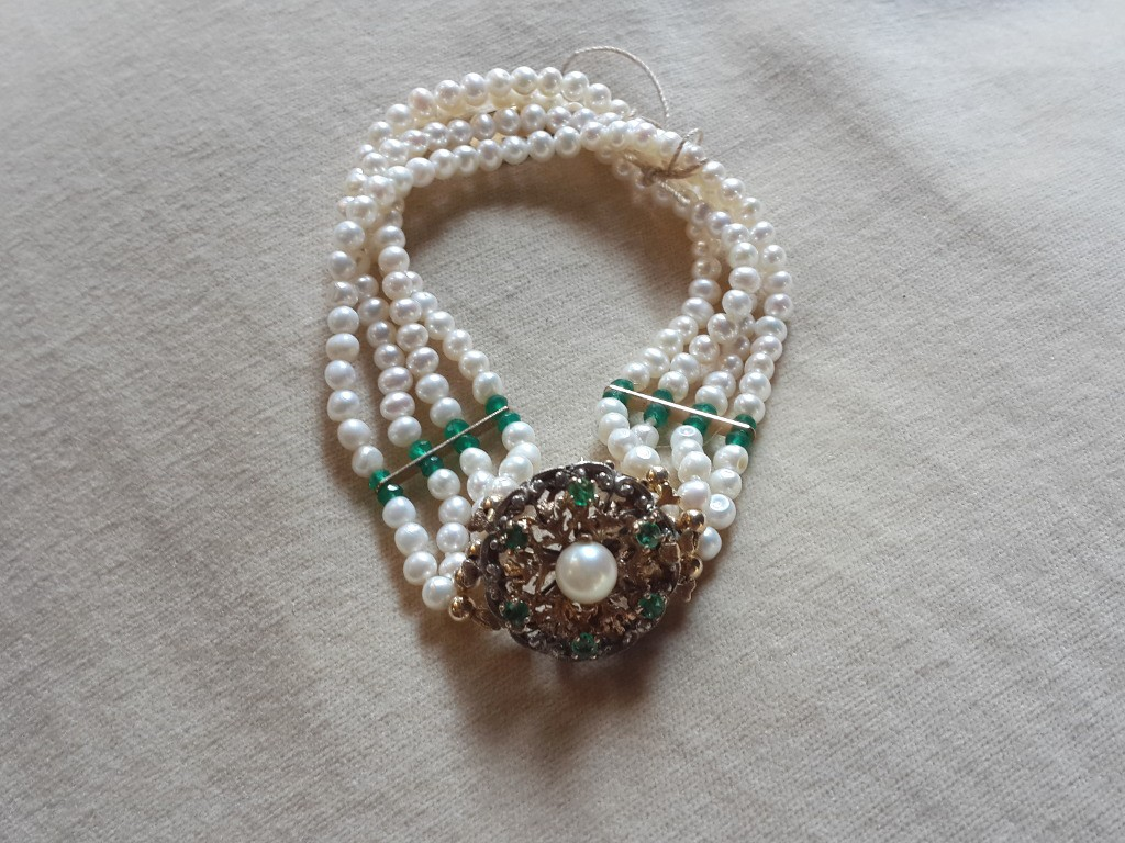 Pearls Bracelet with Emerald Medallion as Lock