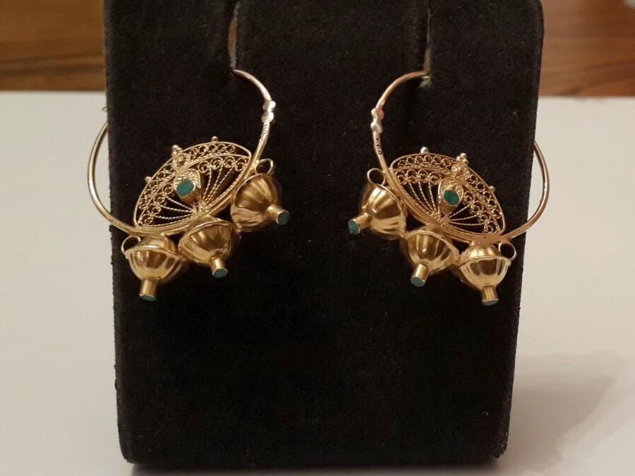 עגילי זהב אתניים - ג'יפסי - בעבודת פיליגרן איכותית