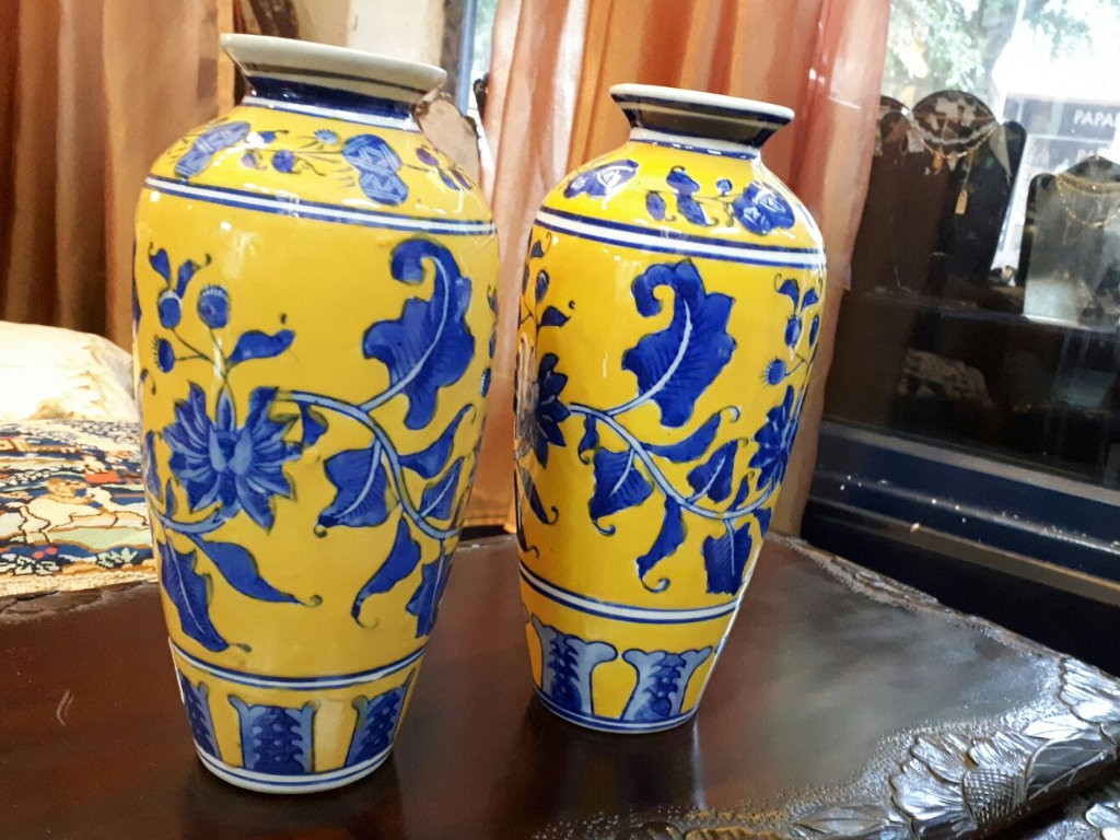 Pair of Chinese Ceramic Vases with Hand Drawn Decorations