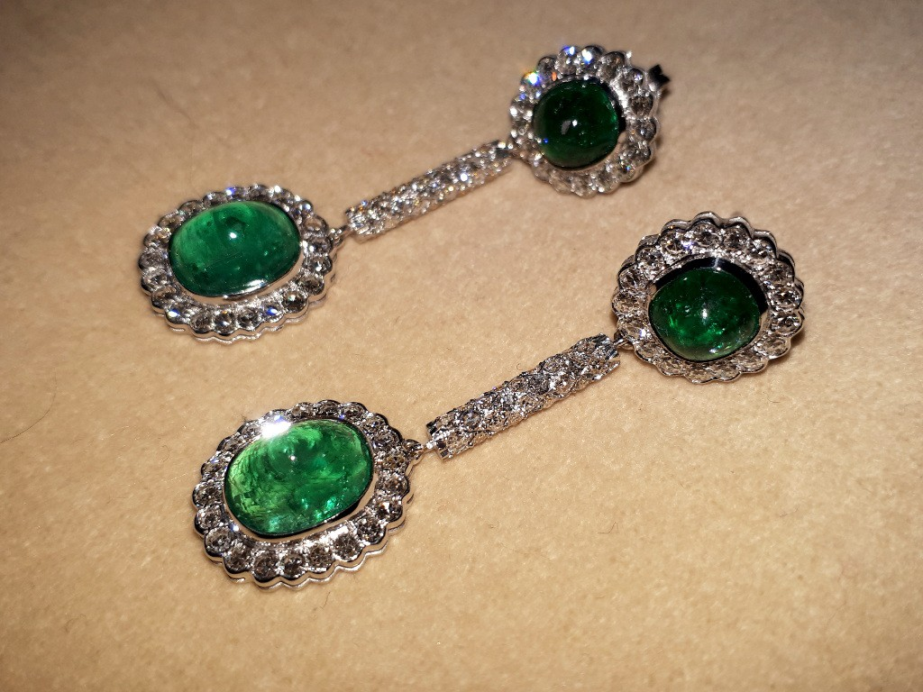Gold Edwardian Earrings with Emeralds and Diamonds