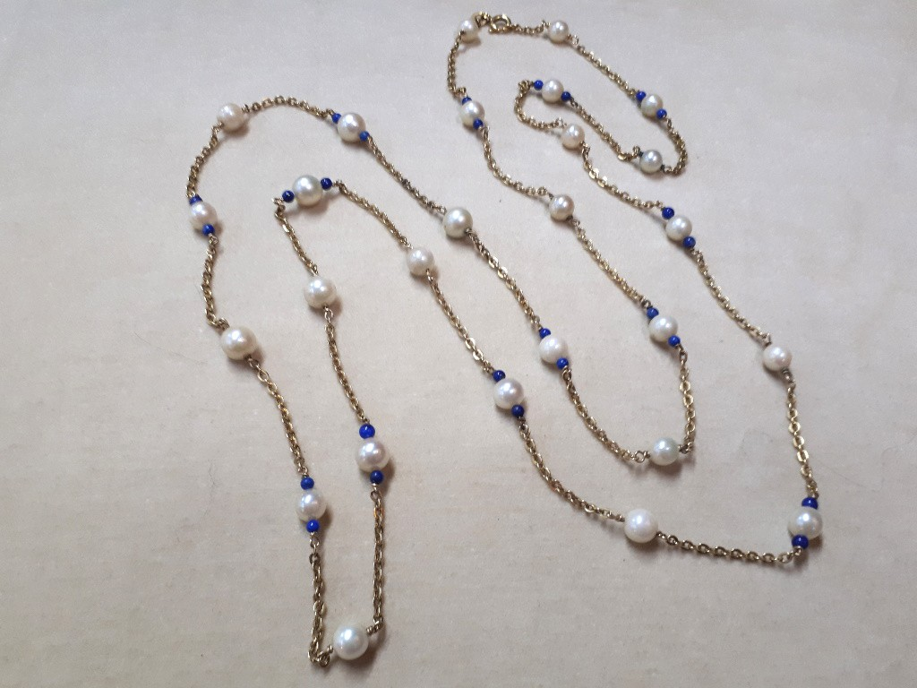 Antique Long Gold Necklace with Pearls and Tiny Lapis
