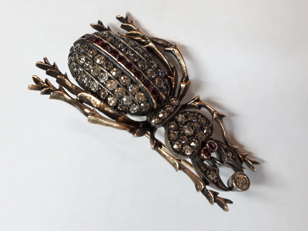 Scorpion Shaped Brooch with Diamonds and Rubies