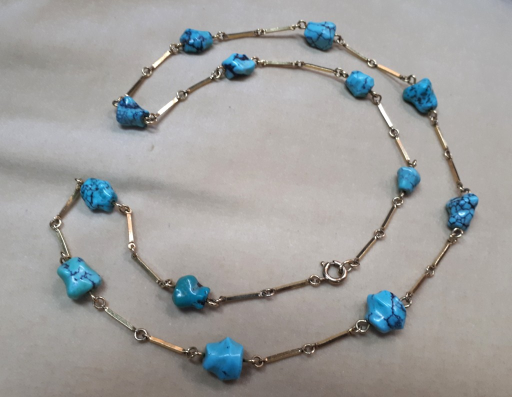 Gold and Turquoise 50s Bracelet