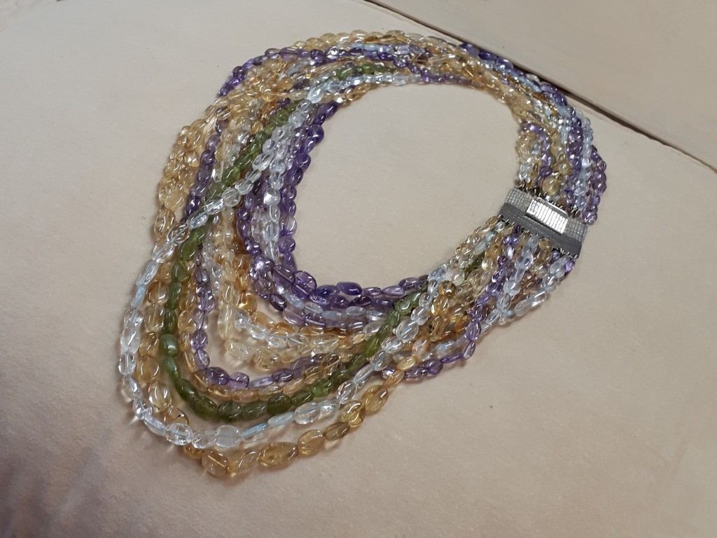 12 Rows Pendant with Aquamarines, Amethysts, Citrines and Peridots
