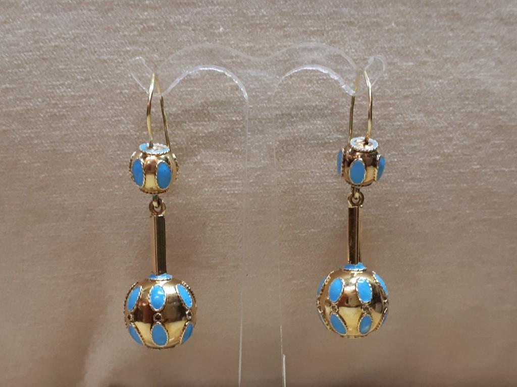 Ball Earrings from 40s with Enamel