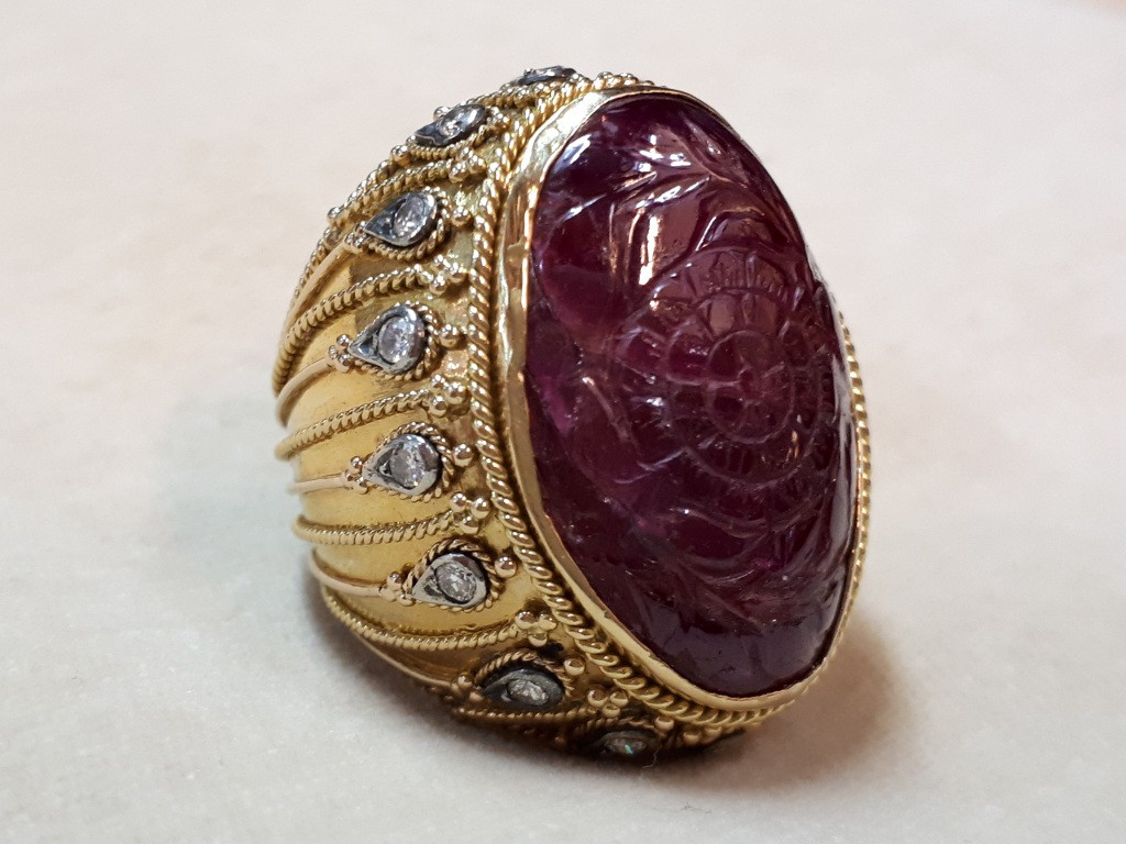 Large Ring with Ruby and Diamonds