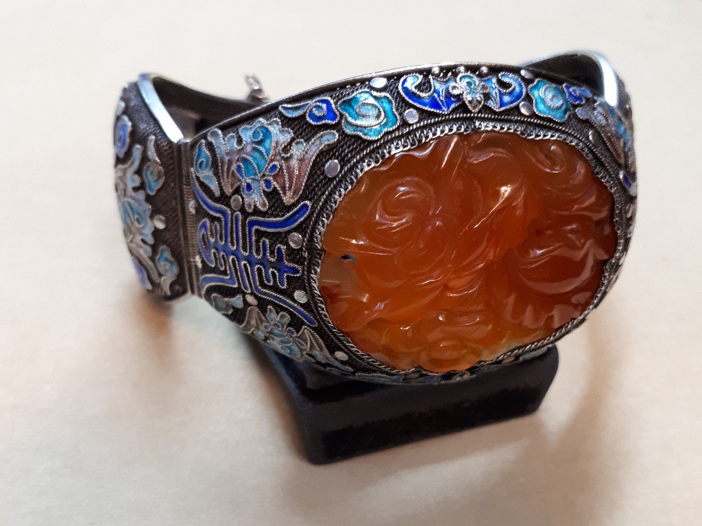 Silver Hoop Bracelet with Large Carenlian and Enamel