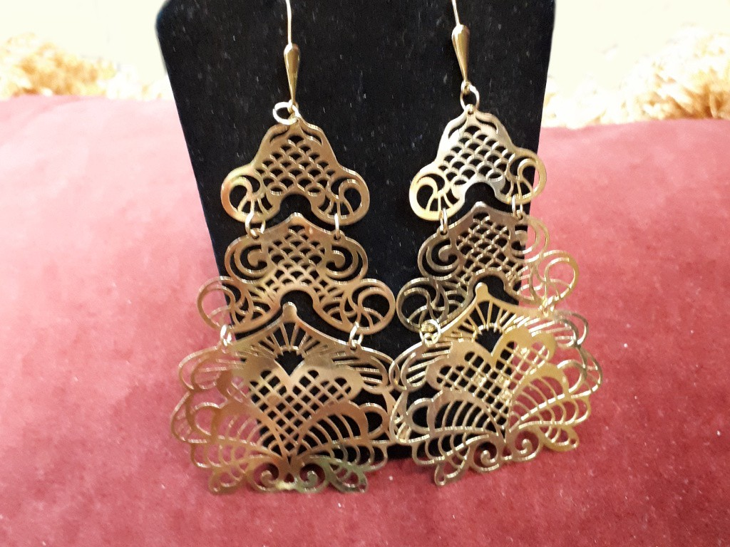 Long Gold Earrings with Lace Work