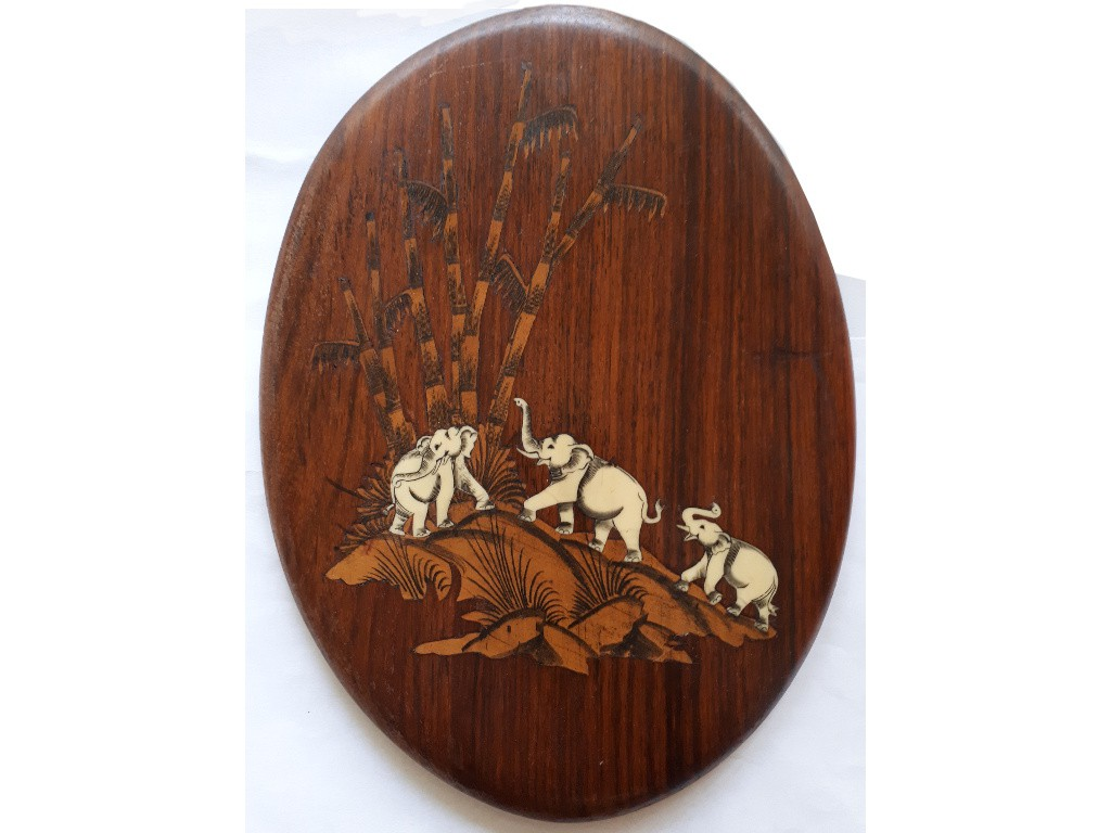 Oval Wooden Picture with Ivory