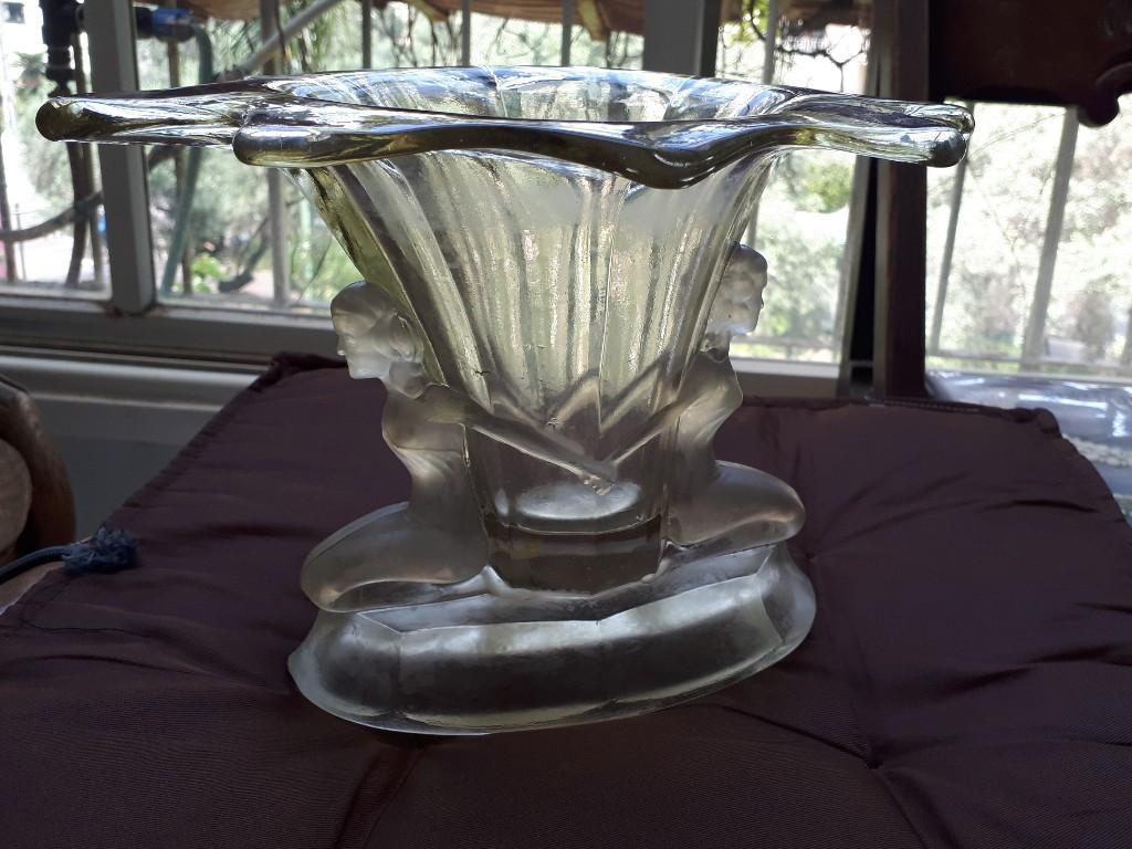 """Art Deco Heavy Glass Vase """"Held by"""" Two Women"""