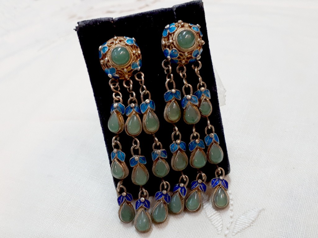 Gilded Long Silver Earrings with Blue Enamel and Green Jades