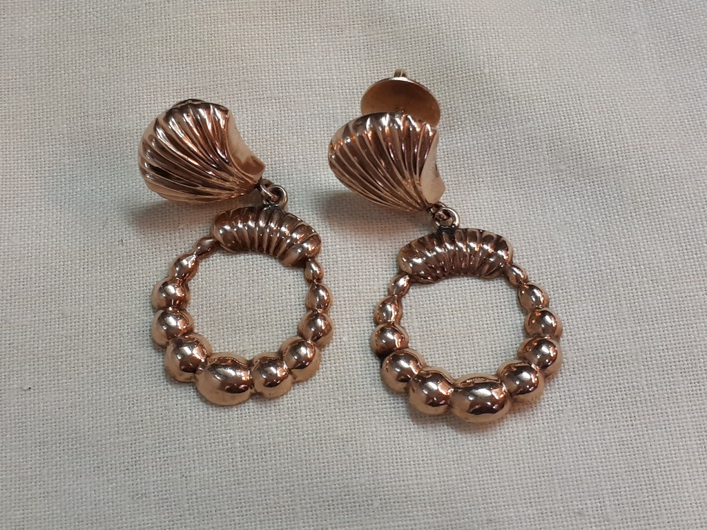Large Gold Retro Styled Earrings