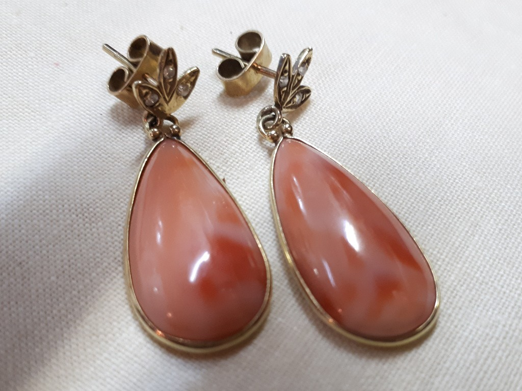 Large Pink Coral Earrings with Diamonds