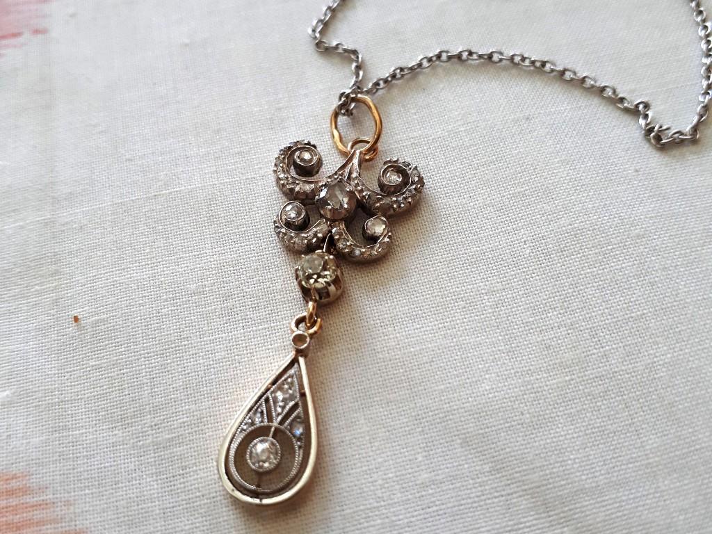 תליון זהב לבן עם יהלומים - אדוארדי - עדין ואיכותי