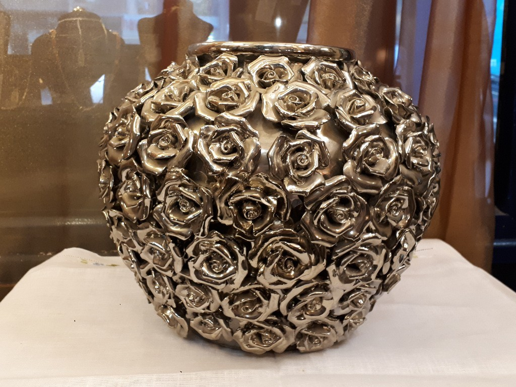 Large Ceramic Vase with Silver Plated Roses