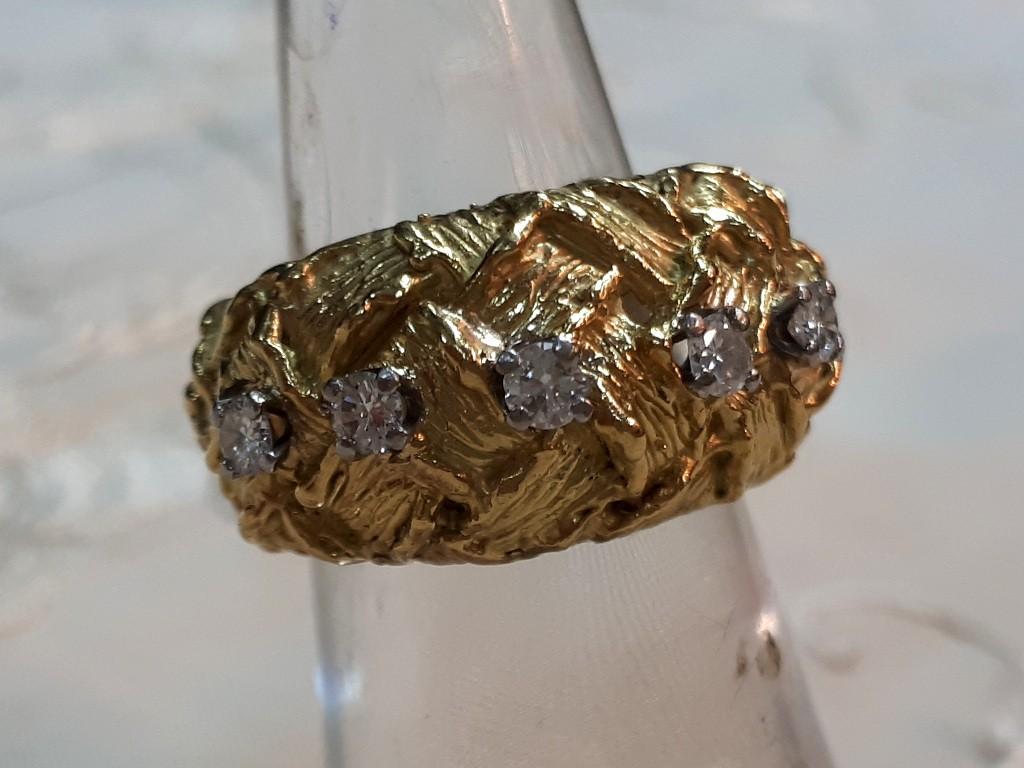 טבעת קלועה 18 קאראט עם 5 יהלומים זוהרים